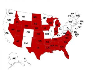 """Right to Work"" states in red.  (Source CNBC)"